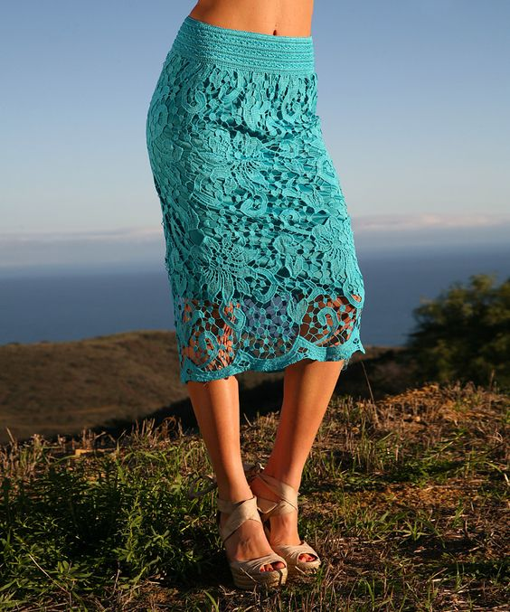 Look at this #zulilyfind! Ananda's Collection Aqua Crochet Lace-Overlay Pencil Skirt - Women by Ananda's Collection #zulilyfinds