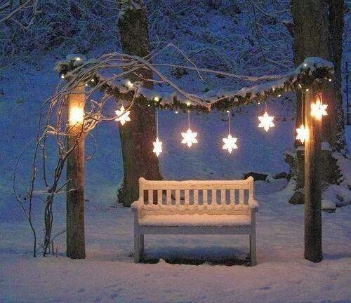 A Little Winter Snow Bench So Cute Christmas
