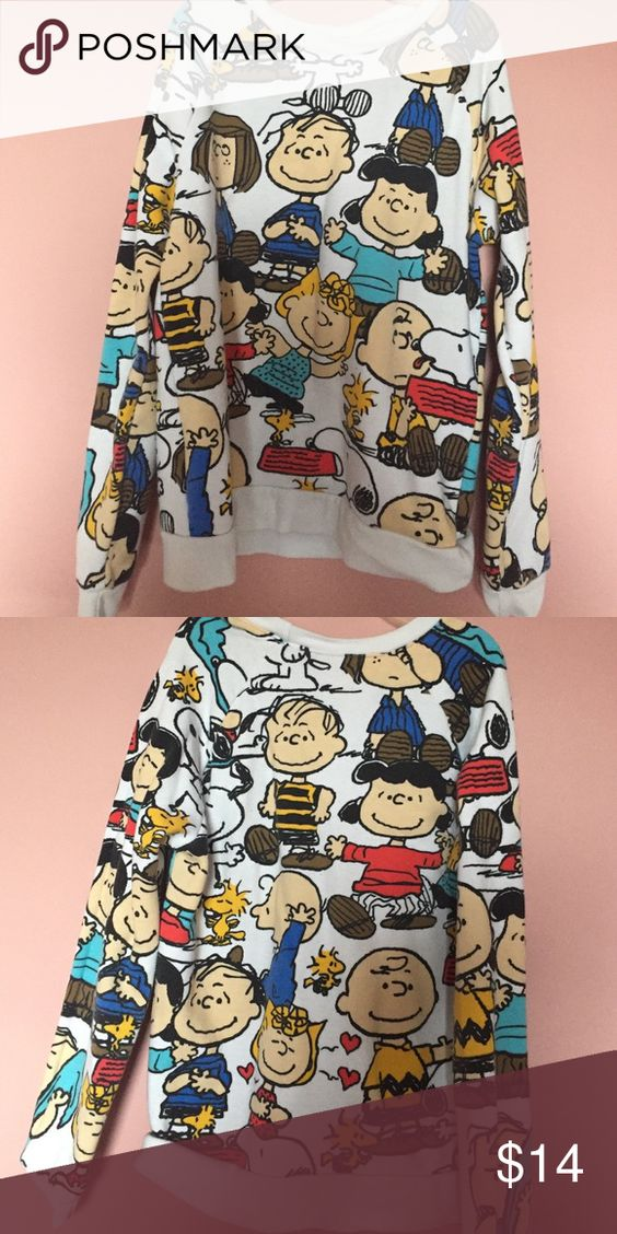 PEANUTS SWEATER FOREVER 21. Peanuts characters and animals print on white sweater. Not too thick not too thin. Cute and warm. Forever 21 Sweaters Crew & Scoop Necks