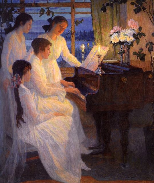 Bogdanov-Belsky, Nikolai (1868-1945) - 1910 Symphony (Private Collection) by RasMarley, via Flickr Reminds me of Christmas time in Tallulah with my family. We would all sing and my brothers would play the piano.: