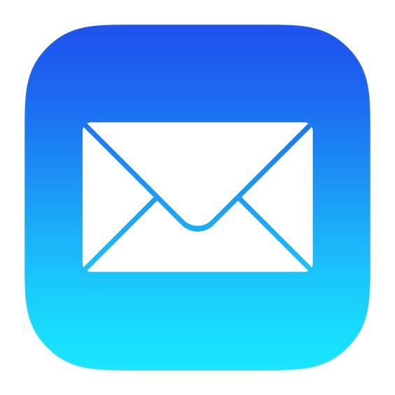 Mail app for iOS devices icon - White envelope over blue background