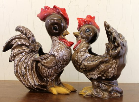 Pair of Vintage Brown DeLee Marbled Ceramic Rooster Planters, $54.99 by LittleRedHenONLINE on Etsy