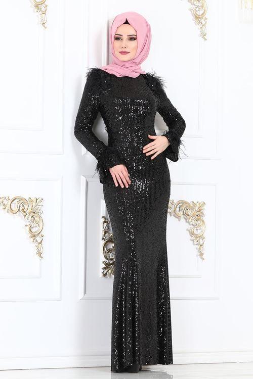 Modaselvim Abiye Volan Kol Tasli Dantel Abiye 5143ay342 Mor Elbise Dugun Islami Giyim Elbise