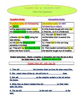 Transitive And Intransitive Verb Introductory Activity Sheet
