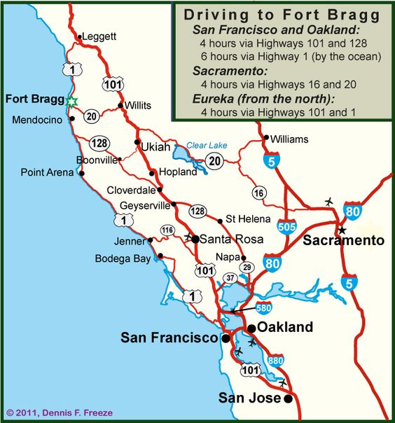 Driving Map to Fort Bragg CA Spent my childhood driving between – Map Ukiah Ca