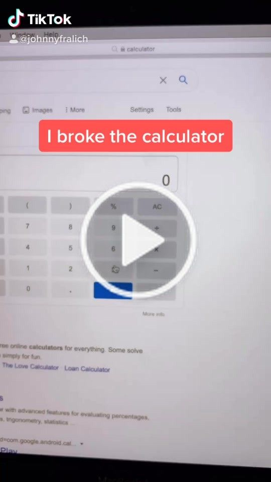 Johnny Fralich Johnnyfralich On Tiktok Calculator Going Crazy Fyp Foryou Foryoupage Calculator Fail Infinity Infinity Challenge Going Crazy Johnny