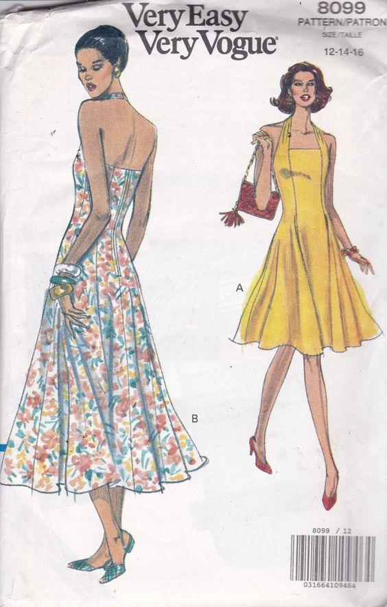 Vogue 8099 Vintage Muster Damen Neckholder-Kleid mit von OhSewVogue