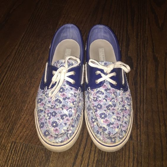 SPERRY TOP SIDER these are a pair of almost brand new sperry top siders. these are my favorite pair and barely worn as you can tell by barely and markings on the heel of the foot. they no longer sell these on their website so these are a steal. they are in great quality and very fashionable. they are a blue and purple flower print with clear sequins on top. Sperry Top-Sider Shoes