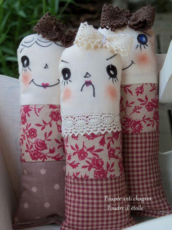 poupée chiffons anti-chagrin pour jouer ou décorer. : Jeux, peluches, doudous par poudre-d-etoile