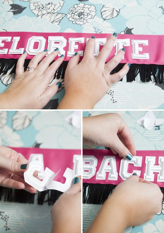 Diy seasons bachelorette party sash and football for Bachelorette party decoration ideas diy
