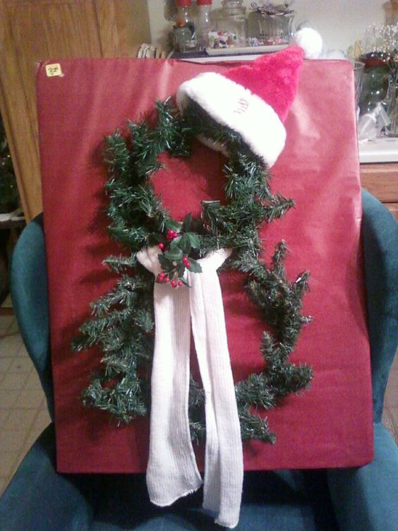 I made this wreath in 2010 using an 8 inch and a 12 inch round pine wreath purchased at the Dollar Tree.  The scarf and Santa hat were purchased there also...total cost: $4.00 plus tax!  I added a little sprig of holly at the knot of the scarf for a bit of panache and voila!