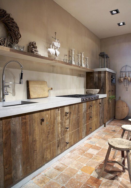 enchanting rustic kitchen cabinets creating glorious natural | Brick, Stone, Wood and Concrete: 15 Beautiful, Rustic ...