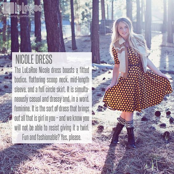 Style Spotlight: the LuLaRoe Nicole dress. Fitted bodice, scoop neck, mid-length sleeve, full circle skirt...this dress is flattering & fun! Dress it up or down & be stylish and comfortable at the same time.