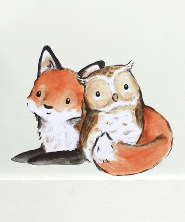 Look at this #zulilyfind! Fox & Owl Little Friends Decal by trafalgar's square #zulilyfinds. Loook at this ohmygosh it's sooo cute!