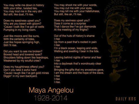 and still i rise maya angelou | Maya Angelou - Still I Rise