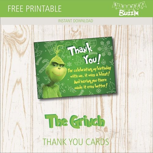 Free Printable Grinch Thank You Cards Birthday Buzzin Free Printables Thank You Cards Grinch
