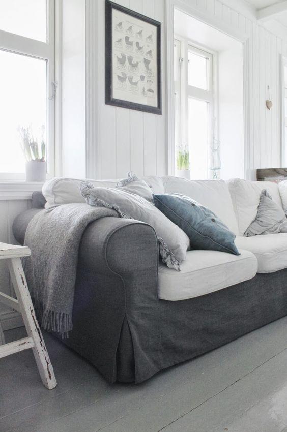 Ektorp, 3 Seater sofa bed cover Loose Fit Country Ektorp sofa - ikea ektorp gra