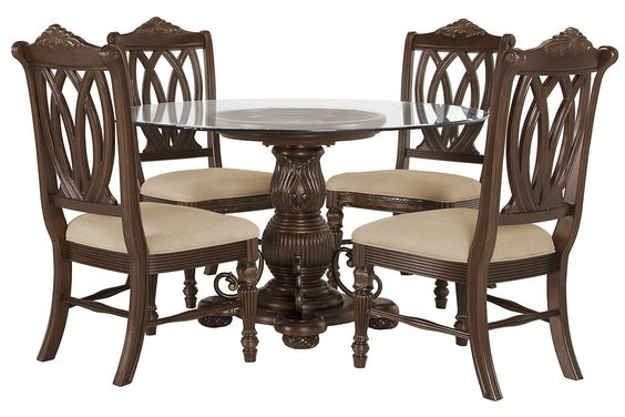 Tradewinds Dark Tone Glass Table  4 Wood Chairs Chairs, Furniture