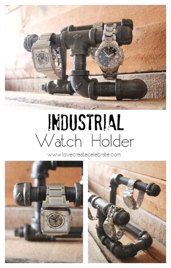 Industrial Pipe Watch Holder - Easy DIY gift for him using black steel pipe! Perfect masculine decor.   #him #husband #men #present #Christmas #birthday #tutorial