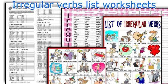 Irregular verbs list worksheets   Μέρη για να επισκεφτώ ...