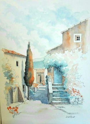 La Ruelle Au Cypres 22 X 30 Cm En 2020 Paysage De Provence