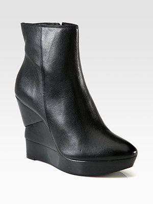 Diane von Furstenberg - Leather Wooden Wedge Ankle Boots - Saks.com