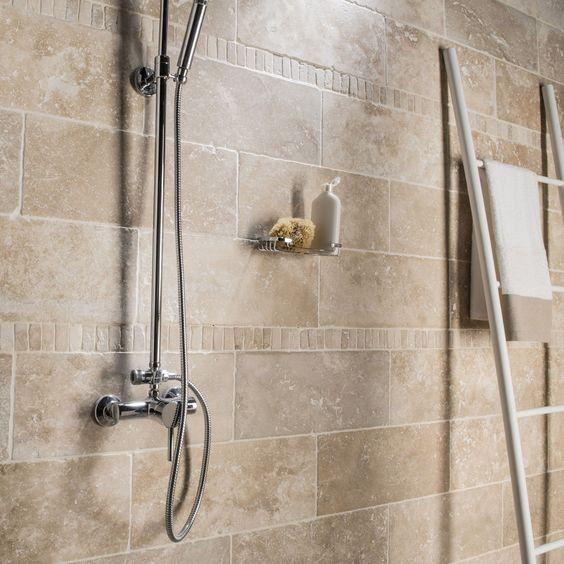 pierre naturelle sol et mur ivoire travertin x cm leroy merlin salle de bain. Black Bedroom Furniture Sets. Home Design Ideas