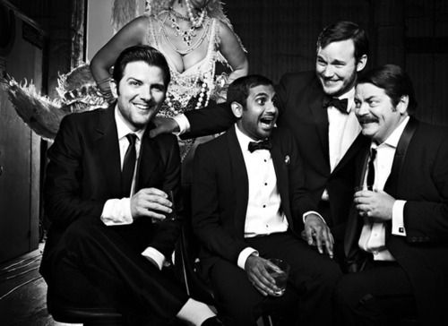 Parks and Recreation male cast (Adam Scott, Aziz Ansari, Chris Pratt, and Nick…