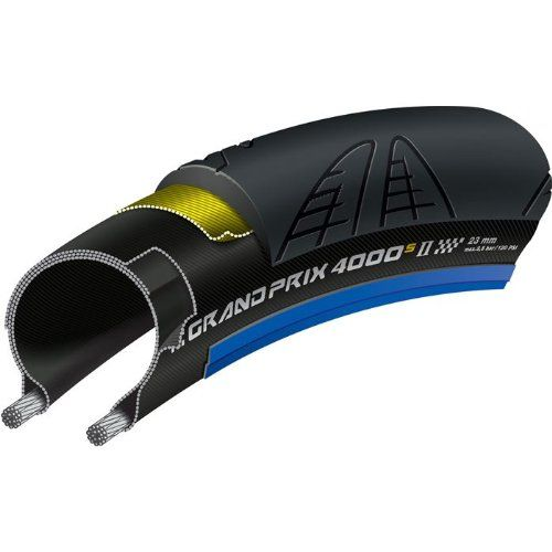 Continental Grand Prix 4000 S II Tire 700x23 Black/Blue Folding Bead and Black Chili Rubber - http://ridingjerseys.com/continental-grand-prix-4000-s-ii-tire-700x23-blackblue-folding-bead-and-black-chili-rubber/