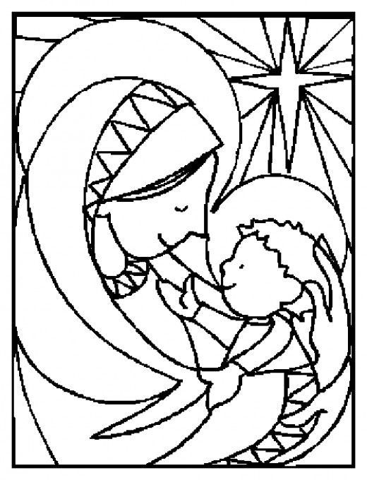 Christmas Coloring Pages Stained Glass Free Mary Holding Jesus Coloring Nativi Jesus Coloring Pages Christmas Coloring Books Printable Christmas Coloring Pages