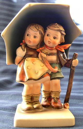 Hummel Figurines, which were designed by a German Nun.  got some --that were given to us on the births of our boys
