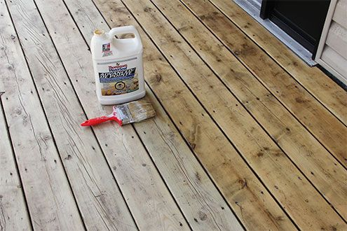 Use a water sealer instead of stain to get that natural wood look for your deck and porch.