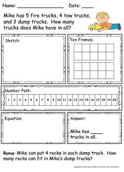 Worksheets Kindergarten Addition Word Problem word problems addition and subtraction within 10 kindergarten 30 with three addends for enrichment a bonus question is included