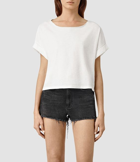 Womens Tyler Cropped Tee (Chalk White) - product_image_alt_text_1