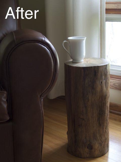 DIY log end table