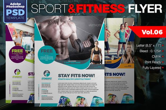 Sport \ Fitness Flyer Vol06 by KitCreativeStudio2 on Creative - fitness flyer template