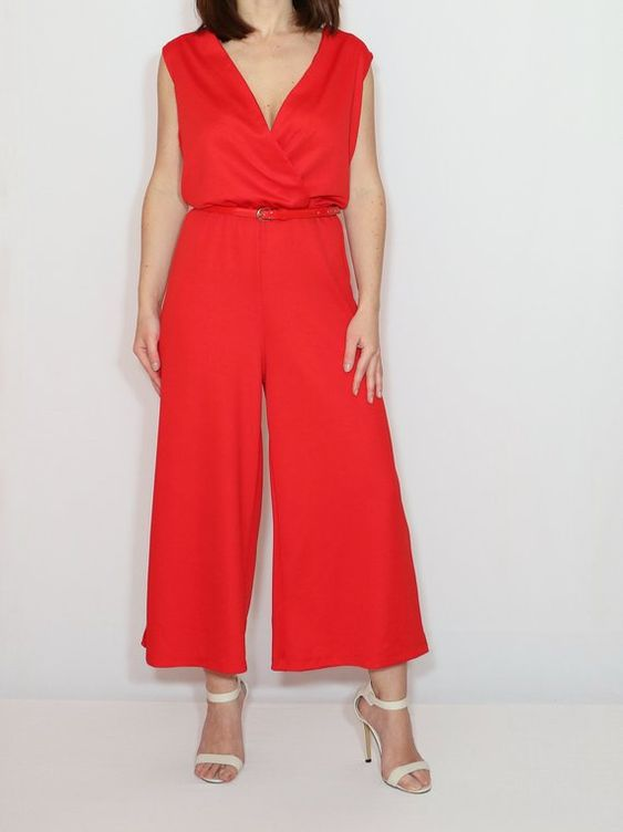 Red culotte jumpsuit women  Red summer jumpsuit Red sleeveless jumpsuit