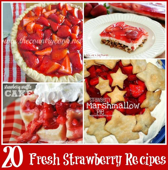 20 Fresh Strawberry Recipes from The Country Cook. Got some ripe & juicy strawberries? These are the must-make recipes for them! Strawberry Pie, Strawberry Pretzel Salad, Fresh Strawberry Cake, Even Strawberry Waffles that you can make for breakfast or dessert!