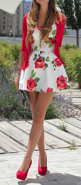 fun floral print dress matched with strawberry sweater and heels. need to find this ASAP, so cute!: