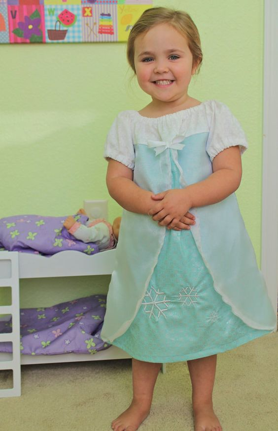 Queen Elsa Frozen Inspired Everyday Princess by BlueRibbonDresses My friend makes these dresses and does it to help raise money to fight Colon Cancer.  Check out the site.  Lots of choices!