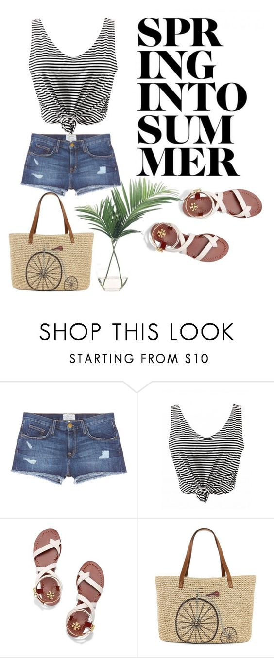 """""""Summer!"""" by jaejaehwa ❤ liked on Polyvore featuring Current/Elliott, Tory Burch, Straw Studios and NDI"""
