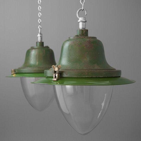 Vintage British street lights by 'Maxlume' salvaged from the turbine test facilities at Pyestock, Fleet, UK.From Skinflint Design