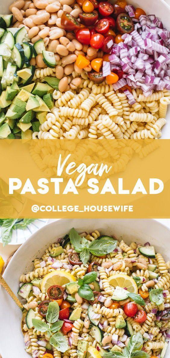Vegan Pasta Salad With Lemon Herb Dressing The College Housewife Recipe In 2020 Vegan Pasta Salad Cold Pasta Salad Recipes Vegan Pasta