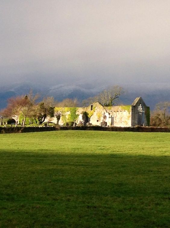 13th cent Killagha Abbey, Milltown, Co Kerry…with snowy Slieve Mish mtns backdrop