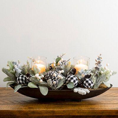 Black Buffalo Check And Greenery Candle Holder Christmas Table Centerpieces Christmas Coffee Table Decor Christmas Dining Table