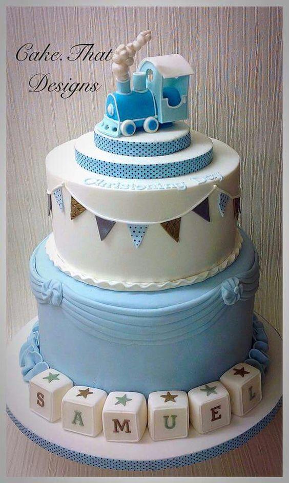 Train baby shower cake.: