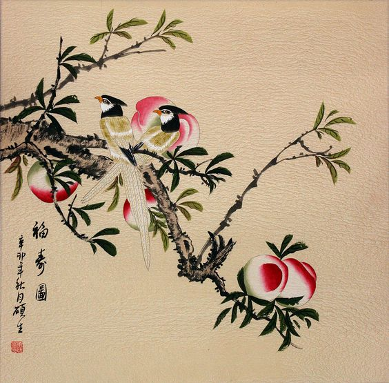 Chinese peach tree painting taoist insporation for Peach tree designs