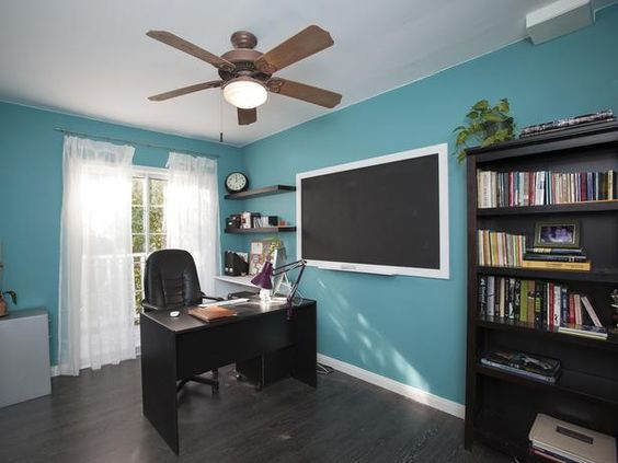As seen on the HGTV series, House Hunters Renovation -->  http://hg.tv/vtdq: Blue Home Offices, Glass Doors, Office Spaces, House Hunters, House Ideas, Wall Color, Offices Workspaces, Hunters Renovation, Bedroom Ideas