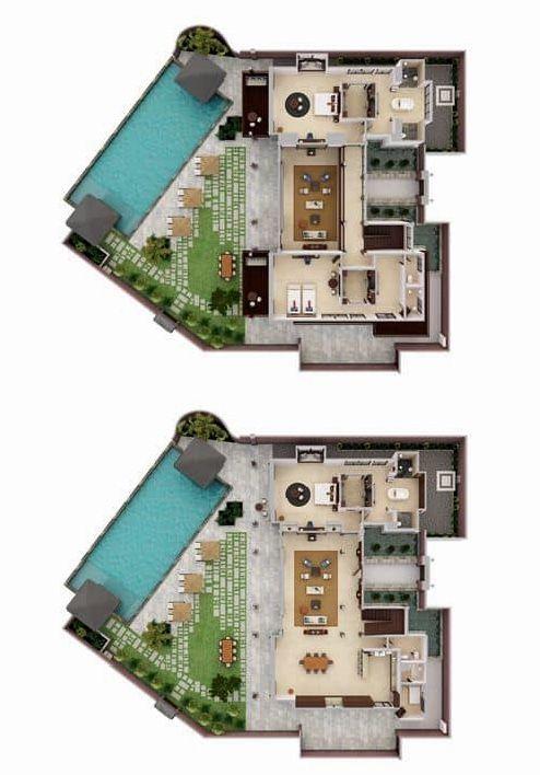 Hilton Bali Resort The President Pool Villa 3 Bedroom 1 085 Sq M 11 678 Sq Ft Resort Plan Villa Plan Hotel Plan