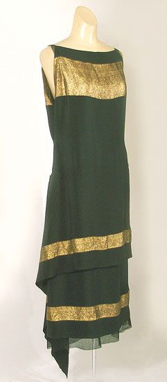 Callot Soeurs couture dress of black silk with bands of gold lamé, c.1924